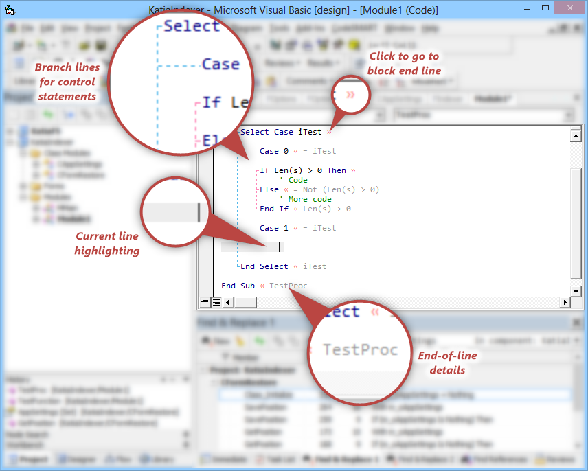 CodeSMART for VB6 - Hotspots in the VB6 editor