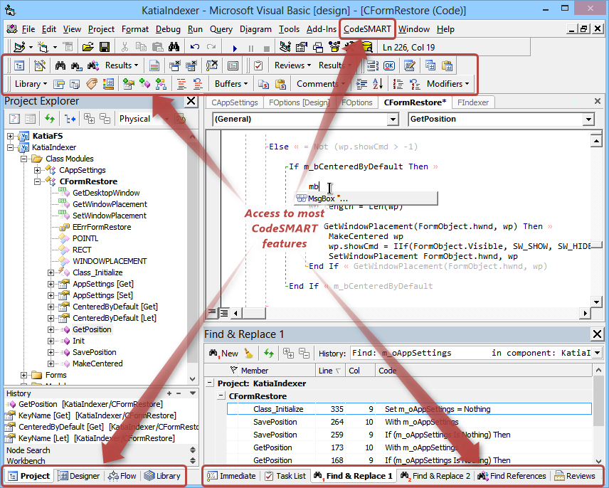 CodeSMART for VB6 - Integration with the VB6 Development Environment