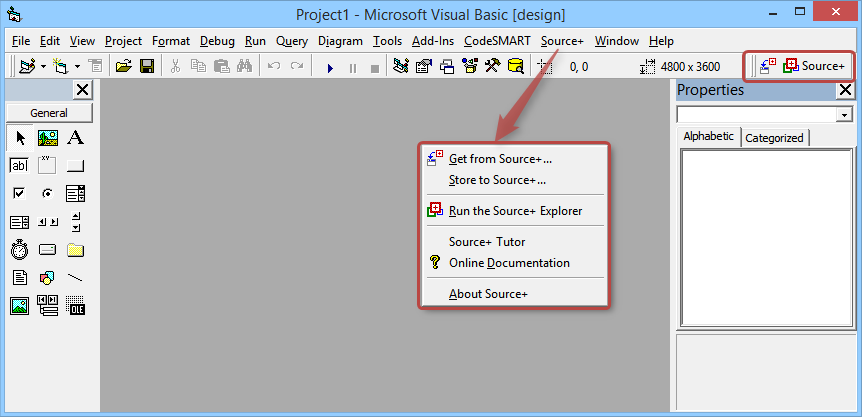 Source+ Integration with VB6